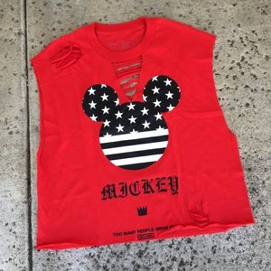 Mickey Mouse Muscle Cropped Tank Top Women's XXL